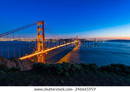 Twilight Golden Gate Bridge, San Francisco - stock photo