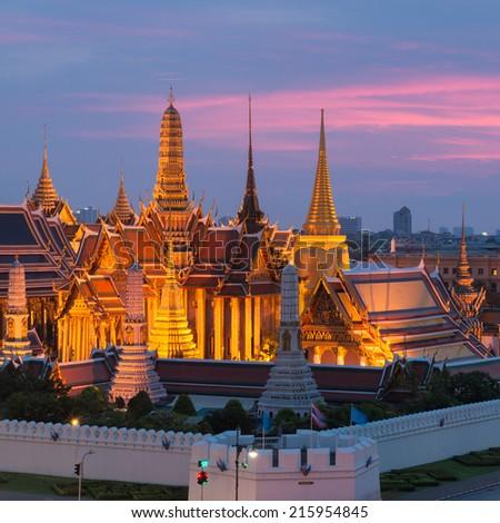 Twilight Grand Palace Bangkok Thailand  - stock photo