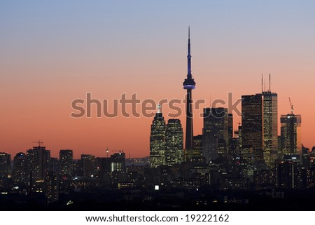 Twilight in Toronto - stock photo