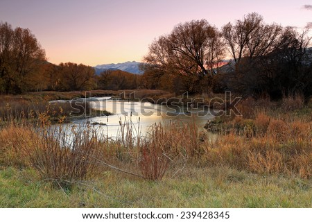 Twilight landscape at the Provo River, Utah, USA. - stock photo