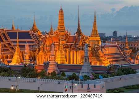 Twilight Lighting at Wat Phra Kaew, Bangkok, Thailand - stock photo