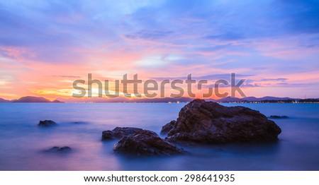 Twilight Mist sunset  Sea Thailand - stock photo