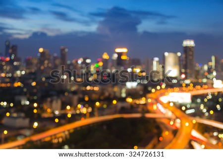 Twilight of blurred bokeh city light background  - stock photo