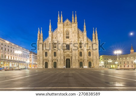 Twilight of Duomo Milan Cathedral in Italy - stock photo