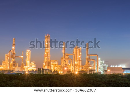 Twilight of oil refinery plant