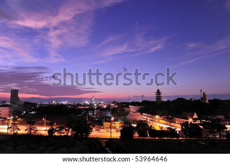 twilight of the town - stock photo