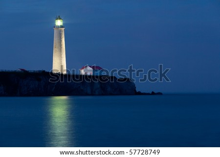 Twilight on Cap-des-Rosiers Lighthouse in forillon National Park.  Quebec, Canada