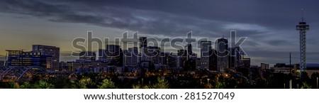 Twilight over Denver Colorado skyline - stock photo