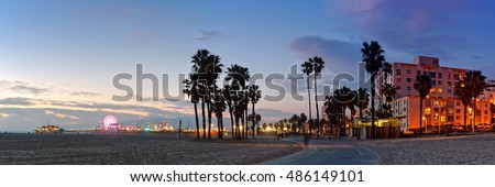 Twilight Panorama of Santa Monica Pier and Oceanfront Walk - Los Angeles California