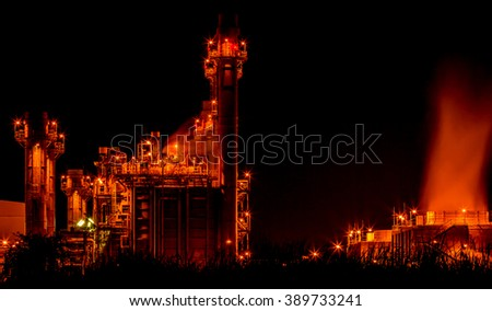 Twilight photo of power plant industrial