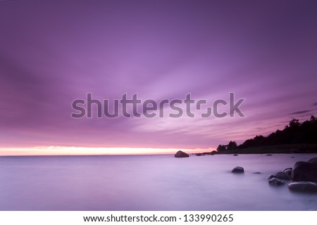 Twilight scene from the baltic sea, long exposure - stock photo