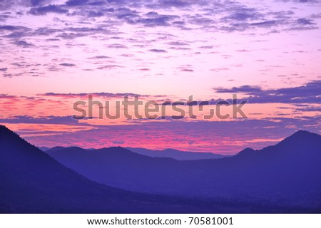 Twilight sky in purple over the mountain