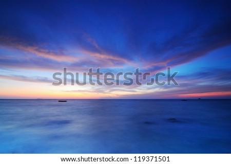 Twilight sky on the sea - stock photo
