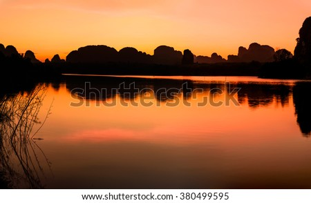 Twilight sky reflect in to the lake in Morning at Krabi, Thailand