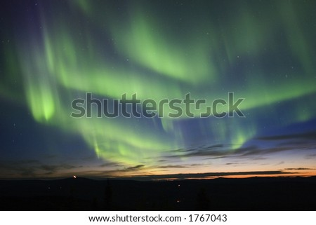 Twilight sky with aurora borealis