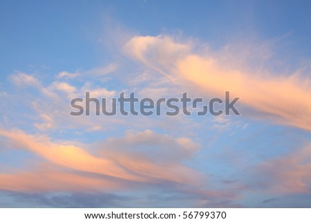 twilight sky with sunlight effect on cloud ,background - stock photo