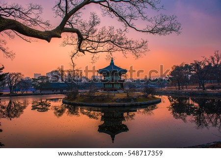 Twilight sunset at gyeongbokgung palace seoul korea