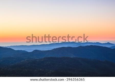 Twilight sunset on top of mountain Chiangmai,Thailand - stock photo