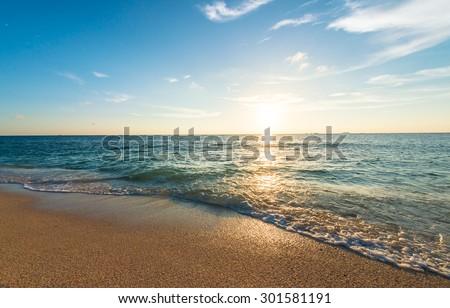 Twilight sunsets and beautiful beaches, Okinawa, Japan - stock photo