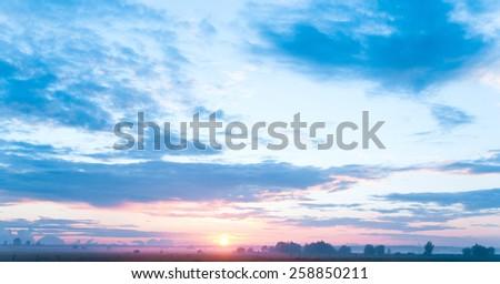 Twilight Time Evening Sun  - stock photo