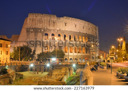 Twilight view of Colosseo in Rome, Italy - stock photo