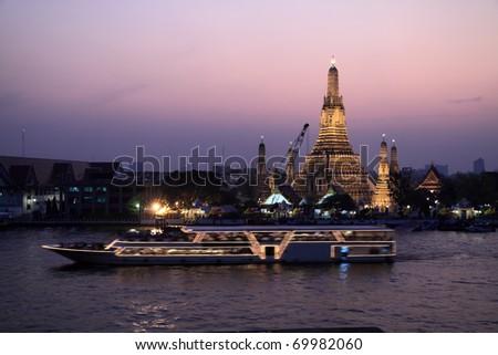 Twilight view of Wat Arun,thailand - stock photo