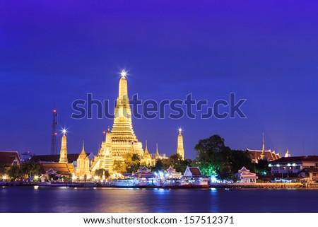 twilight wat arun or the royal temple of dawn at bangkok thailand - stock photo