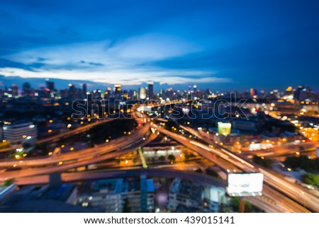 Twilights sky background, blurred lights city highway intersection, abstract background - stock photo