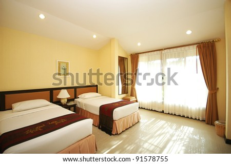 Twin Bed room - stock photo