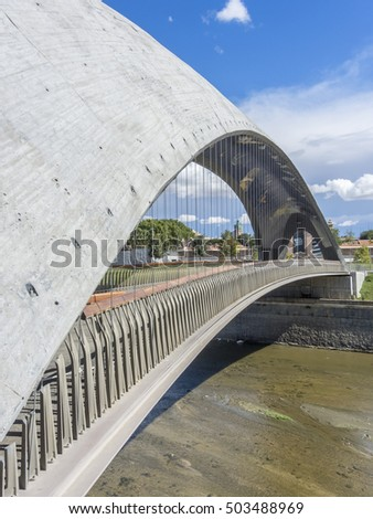 twin bridges over the river Manzanares in Madrid