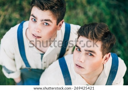 twin brother - stock photo