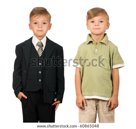 Twin brothers isolated on white background. Beautiful caucasian model. - stock photo