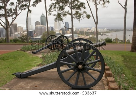 Twin Cannons - Background Perth - stock photo