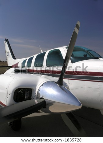 Twin engine aircraft power plant - stock photo