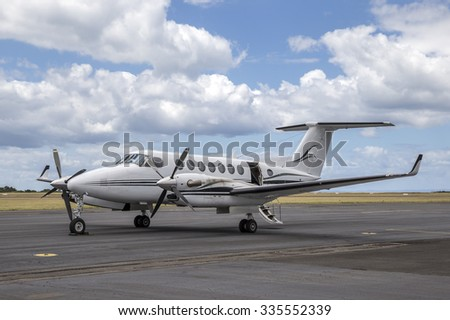 Twin engined turboprop aircraft - stock photo