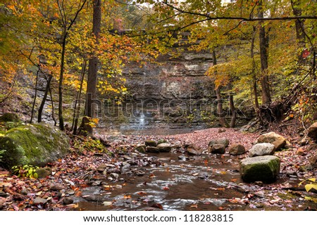 Twin Falls in Arkansas shot during the colorful fall season. - stock photo
