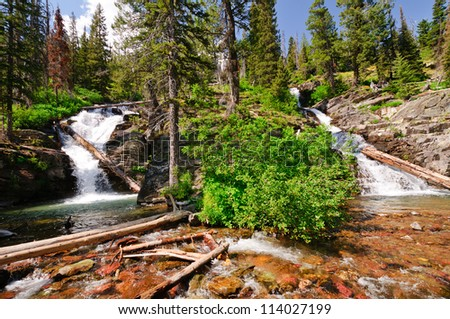 Twin Falls in Glacier National Park in Montana - stock photo