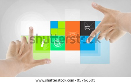 twin finger touching program application - stock photo