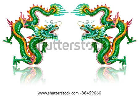 Twin green dragon statues on white background - stock photo