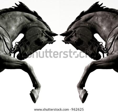 Twin horses - stock photo