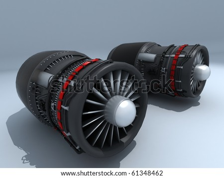 Twin Jet engines exposed - stock photo