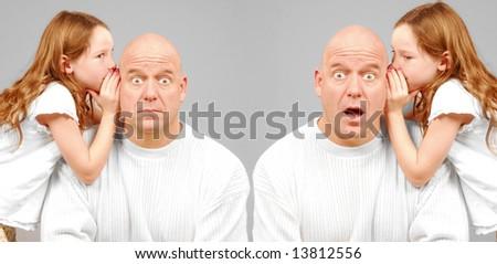 Twin men being told shocking secret by twin girls - stock photo