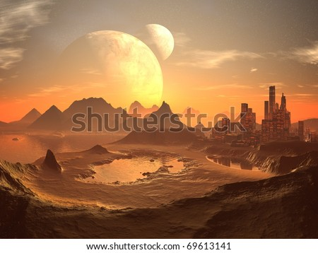 Twin Moons in Orbit over Alien Desert City and Ancient Pyramids - stock photo