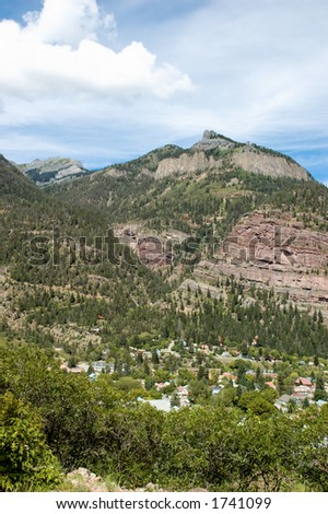 Twin Peaks above Ouray, Colorado - stock photo