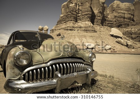 TWIN ROCKS, UT, SEPTEMBER 10: Old vintage buick car at the Twin Rocks. Utah 2012, USA - stock photo