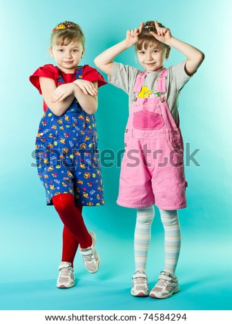 Twin sisters - stock photo