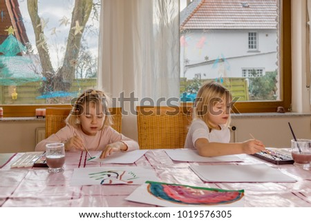 twin sisters  painting with water color