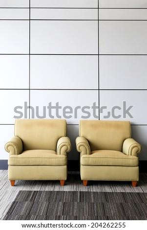 Twin sofa in living room. - stock photo
