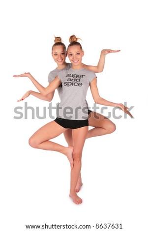 Twin sport girl like Sheva - stock photo