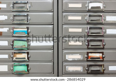 Twin steel filing cabinet for privacy data in the office. - stock photo